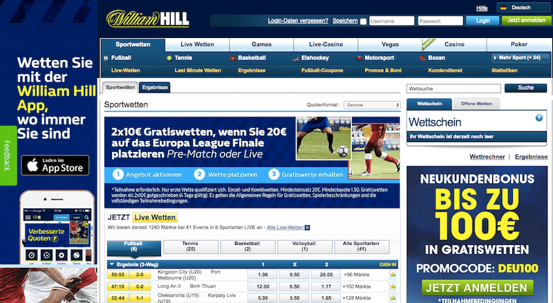 Wetten William Hill 890228